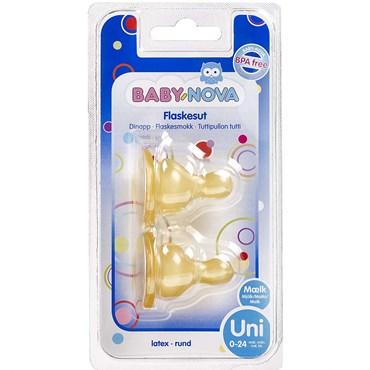 Image of   BABY-NOVA Flaskesut Rund mælk (0-24 mdr) 2 stk