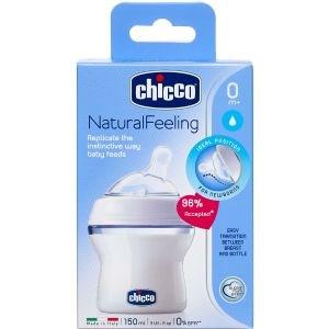 Image of   Chicco Natural Feeling sutteflaske 150 ml. 0 mdr, vinkel 1 stk