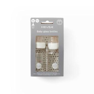 Image of   Hevea glas sutteflaske hvid 120 ml 2 stk