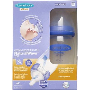 Lansinoh sutteflaske 2x240 ml med NaturalWave flaskesut 2 stk thumbnail