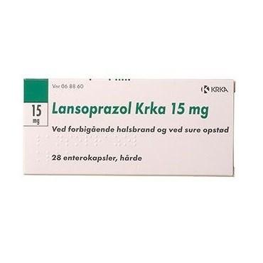 """Lansoprazol """"KRKA"""" 15 mg (Håndkøb, apoteksforbeholdt) 28 stk Enterokapsler, hårde thumbnail"""