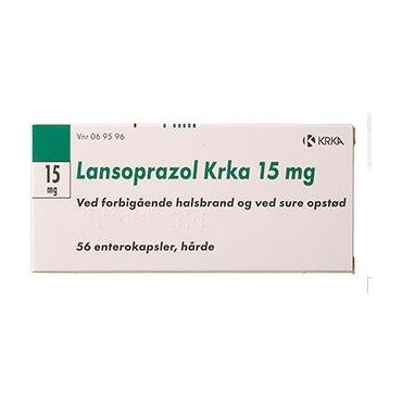 """Lansoprazol """"KRKA"""" 15 mg (Håndkøb, apoteksforbeholdt) 56 stk Enterokapsler, hårde thumbnail"""