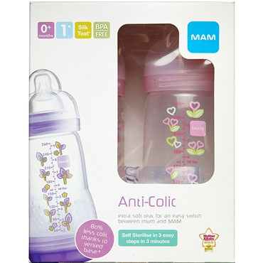 Image of   MAM Anti-Colic Sutteflaske assorterede farver 2 stk