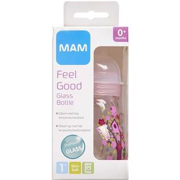Image of   MAM Feel Good Glassutteflaske assorterede farver 170 ml