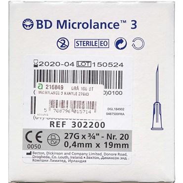 Microlance 3 kanyler 27G3/4-0,4x19mm Grå 100 stk thumbnail