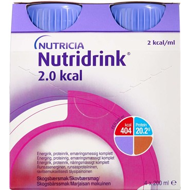 Image of   Nutridrink 2.0 kcal skovbær 4 x 200 ml