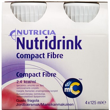 Image of   Nutridrink Compact Fibre Jordbær 4 x 125 ml