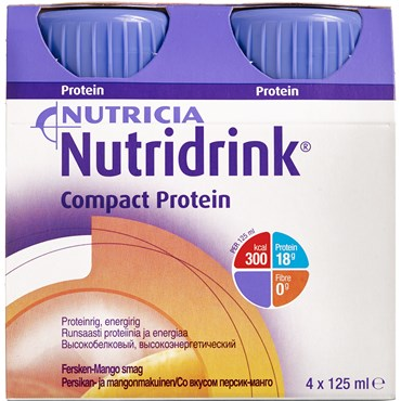 Image of   Nutridrink Compact Protein Fersken-mango 4 x 125 ml