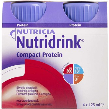 Image of   Nutridrink Compact Protein Røde bær 4 x 125 ml