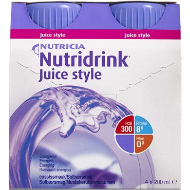 Image of   Nutridrink Juice Style Solbær 4 x 200 ml