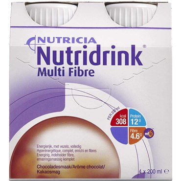 Image of   Nutridrink Multi Fibre Chokolade 4 x 200 ml