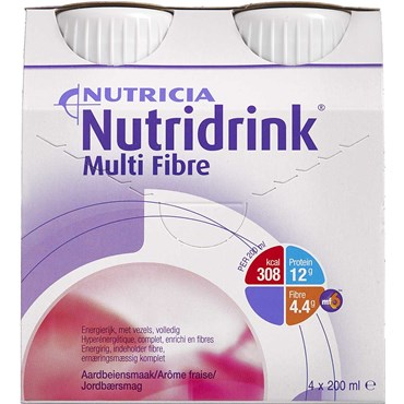 Image of   Nutridrink Multi Fibre jordbær 4 x 200 ml