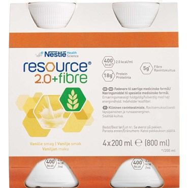 Image of   Resource 2.0+ fibre vanille 4 x 200 ml