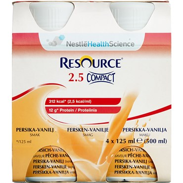 Image of   Resource 2.5 Compact Fersken/vanille 4 x 125 ml