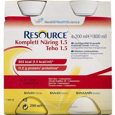 Image of   Resource Komplett 1.5 Banan 4 x 200 ml