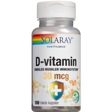 Image of   Solaray D-vitamin 30 mikg kapsler 100 stk